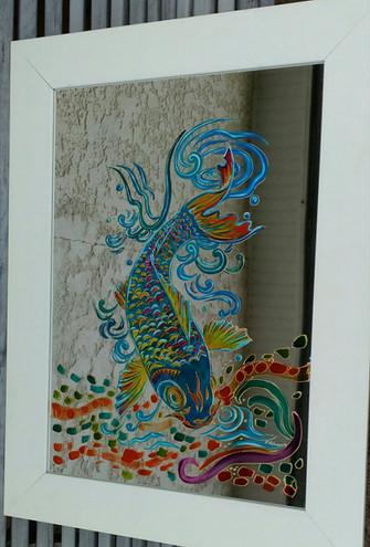 carpe coy peinte sur mioir.jpg