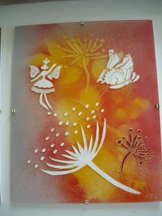 motif fleurs sur verre