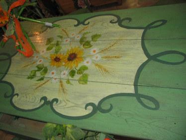 table peinte tournesols