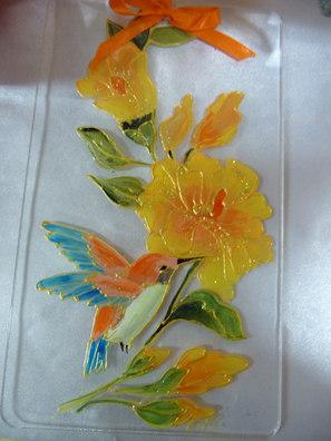 deco hibiscus et oiseau