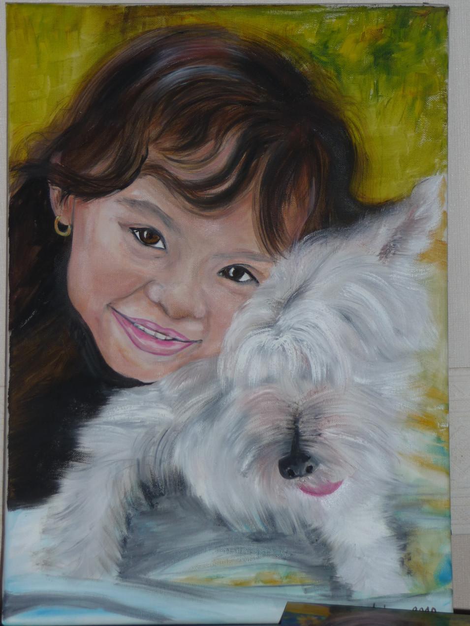 petite fille et son chien