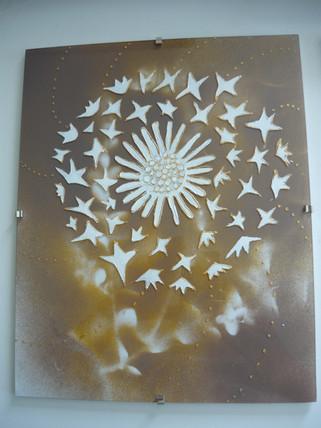 motif floral sur verre