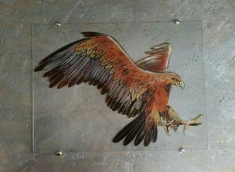 aigle peint sur verre
