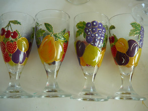 verres décorés fruits