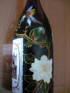bouteille décor oiseau