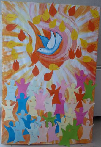 panneau rencontre de jeunes pour la Pentecote 100 x 200 cm
