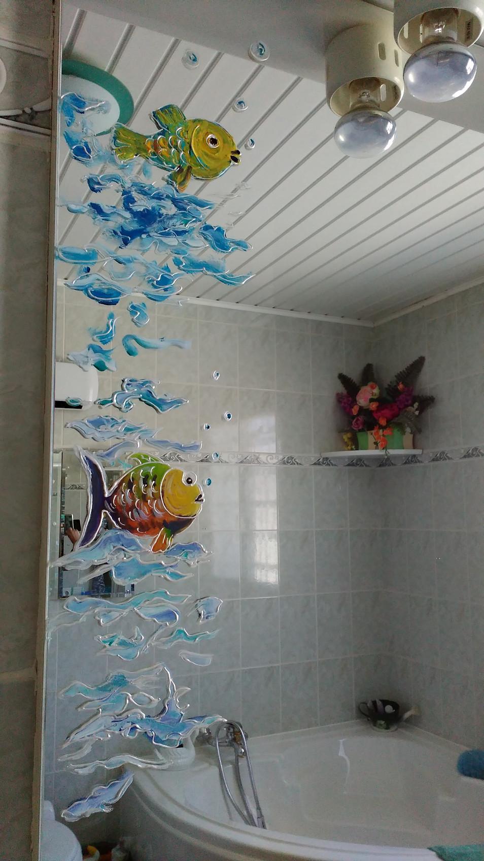miroir décor marin poissons
