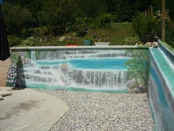 peinture murale cascade sur muret Mornac