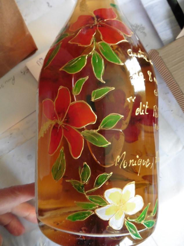 fleurs d'hibiscus peinture sur verre
