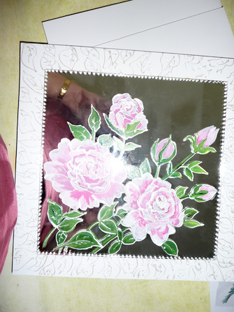 miroir decor roses