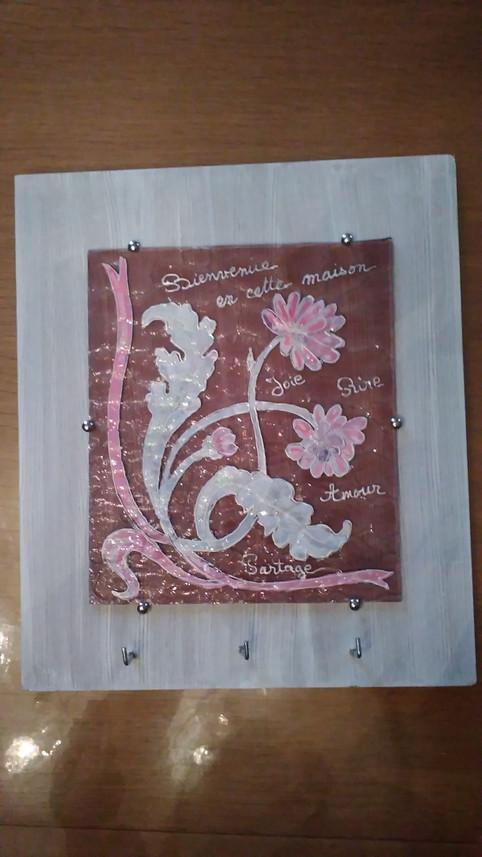peinture sur verre fleurs roses