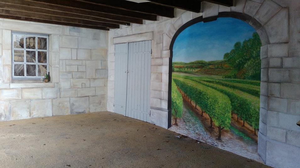 peinture murale entrée couverte Ets Roussille Linars
