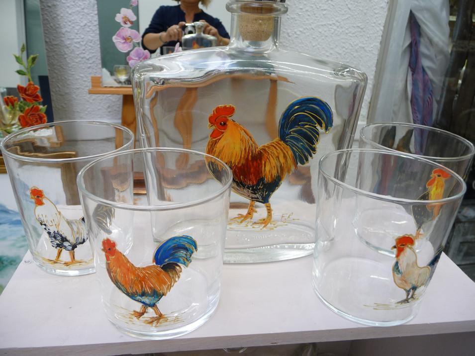 coqs sur verres