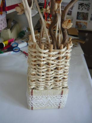 vase  bois carton ficelle