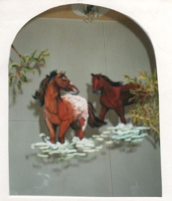 chevaux peints sur miroir