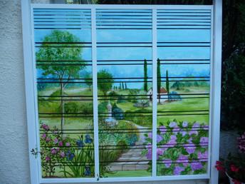 paravent 3 panneaux paysage peint