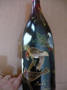 bouteille décor oiseaux