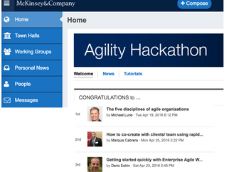 """Five disciplines of agile organizations"" voted top idea in McKinsey Agility Hackathon"