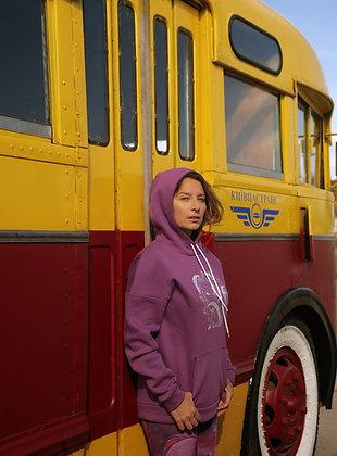 Hoodie loose fit purple color. Oversize