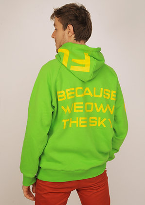 "Hoodie bright green ""BECAUSE WE OWN THE SKY"""