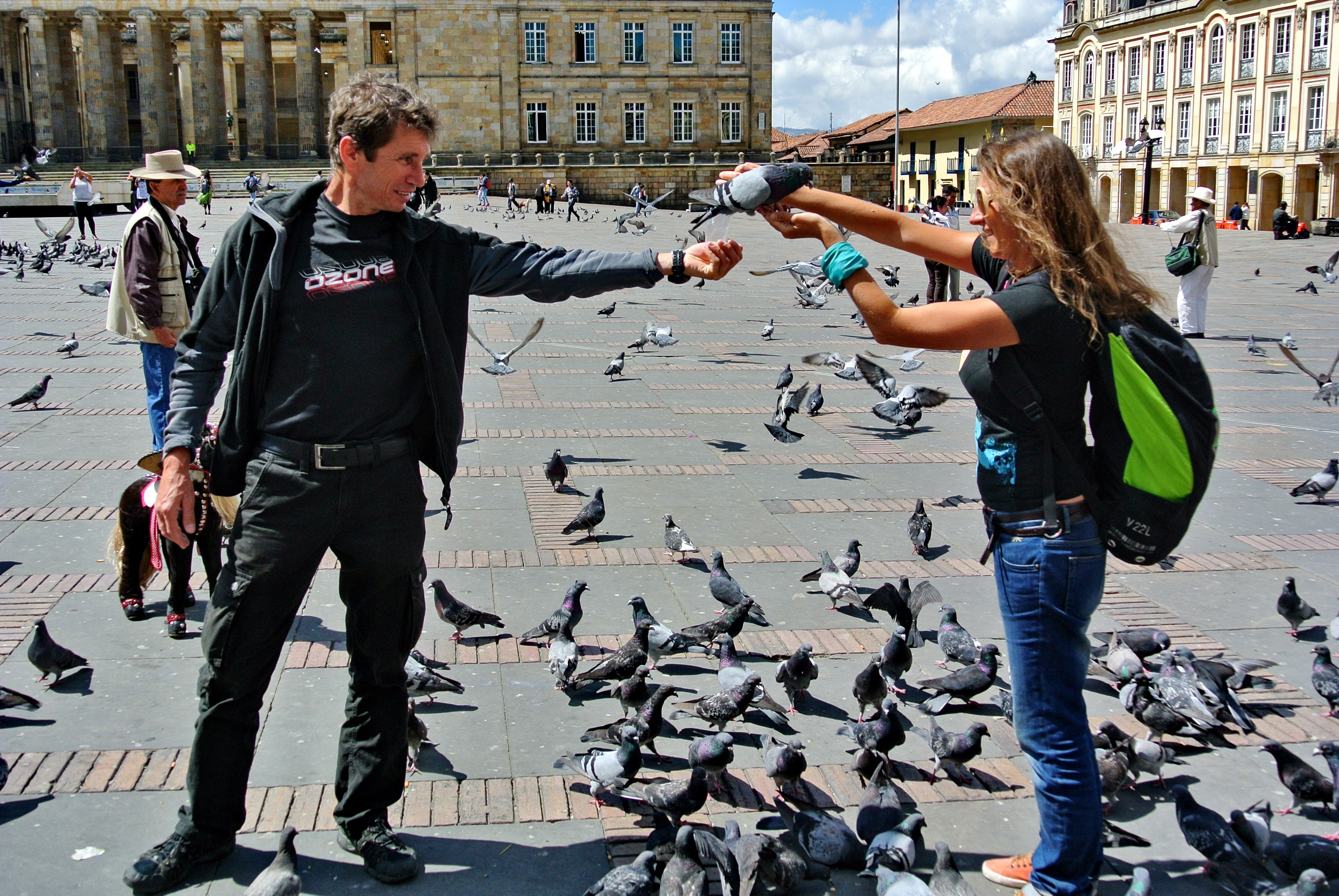 Кормление голубей на площади Боливар