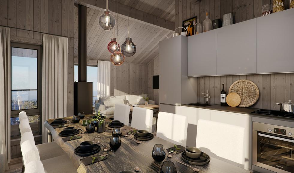 Åpen stue/kjøkken
