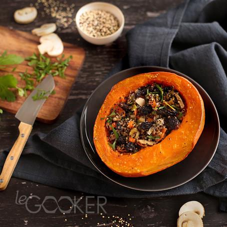 Potimarron rôti au quinoa, morilles et huile à la truffe