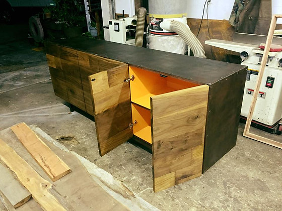 Black Walnut and Industrial Steel Buffet