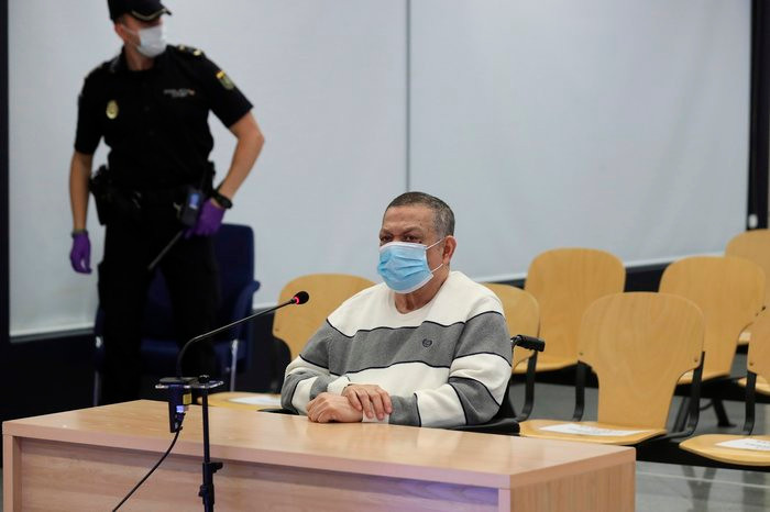 Former Salvadoran official Inocente Orlando Montano attends a trial in Madrid on June 8 for his alleged role in the killing of five Spanish priests in El Salvador in 1989. Kiko Huesca/EFE via AP