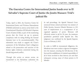 Guernica Submits to El Salvador's Supreme Court the Jesuits Massacre Trial's Judicial File