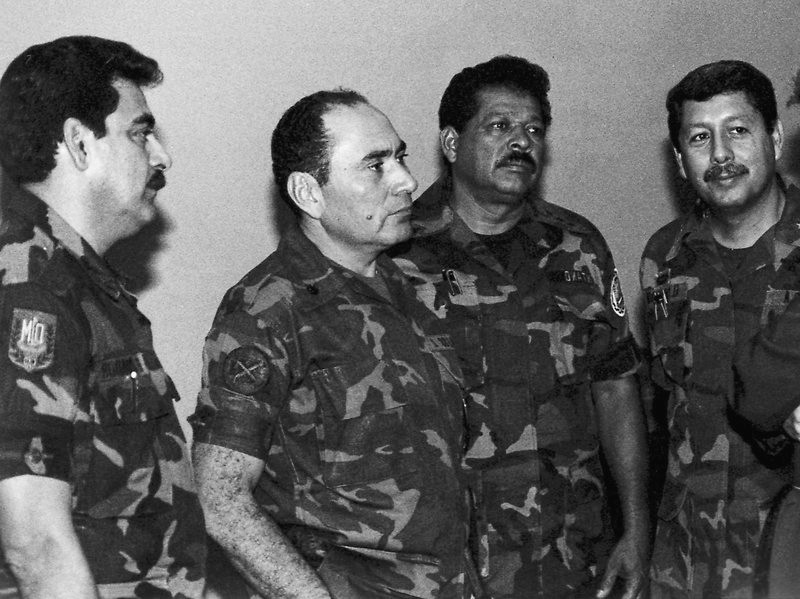 This July 1989 photo shows from left: Col. Rene Emilio Ponce, then head of the Salvadoran armed forces joint chiefs of staff, Rafael Humberto Larios, then defense minister, Col. Inocente Orlando Montano, then public security vice minister, and Col. Juan Orlando Zepeda, then defense vice minister, in an undisclosed location in El Salvador. Luis Romero/AP