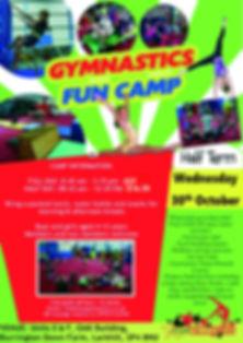 gymnastics fun camp poster 2019 october
