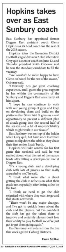 Hopkins takes over as East Sunbury coach