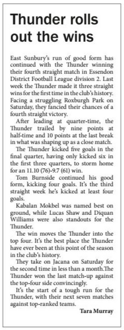 Thunder rolls out the wins - Star Weekly