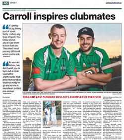 Carroll inspires club mates - Sunbury Leader