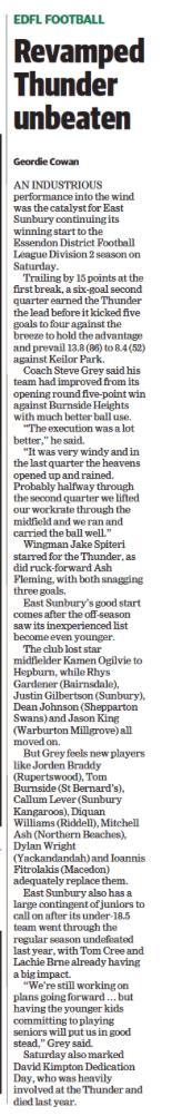 Revamped Thunder unbeaten - Sunbury Leader