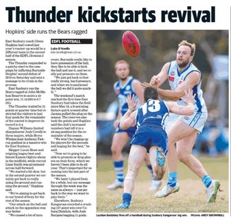 Thunder kickstarts revival - East Sunbury claims upset win over Burnside Heights