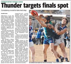 Thunder targets finals spot - Sunbury Leader