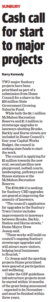 Cash call for start to major projects - Sunbury Leader