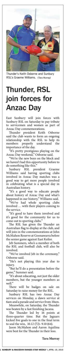 Thunder, RSL join forces for Anzac Day - Star Weekly