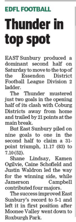 Thunder in top spot - Sunbury Leader