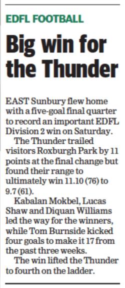 Big win for the Thunder - Sunbury Leader