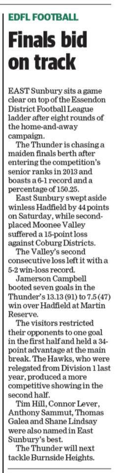 Finals bid on track - Sunbury Leader