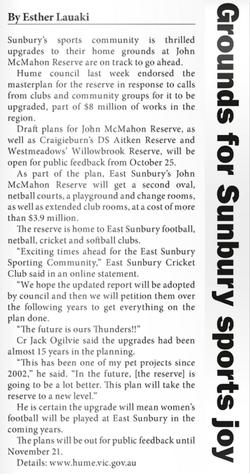 Grounds for Sunbury sports joy - Star Weekly