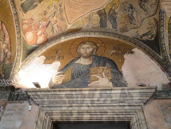Muurschildering in een oude Turkse kerk