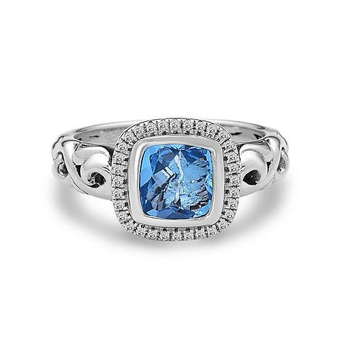 Charles Krypell Ivy Square Shaped Blue Topaz & Diamond Ring