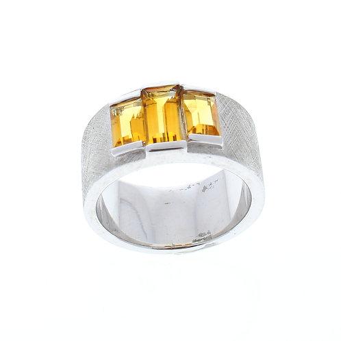 Three Baguette Citrine Ring