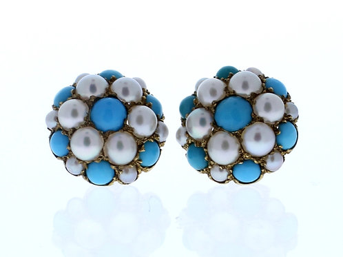Turquoise and Pearl Earring
