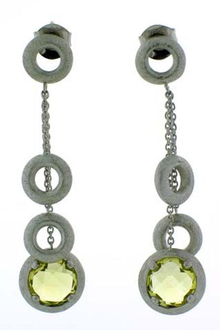 Lemon Quartz Round Checkerboard Cut Dangle Earrings