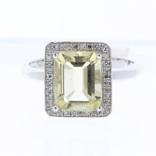 Lemon Quartz and Diamond Ring